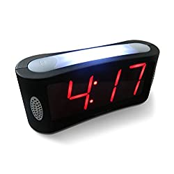 Travelwey Home LED Digital Alarm Clock - Outlet Powered, No Frills Simple Operation, Large Night Light, Alarm, Snooze, Full Range Brightness Dimmer, Big Red Digit Display, Black