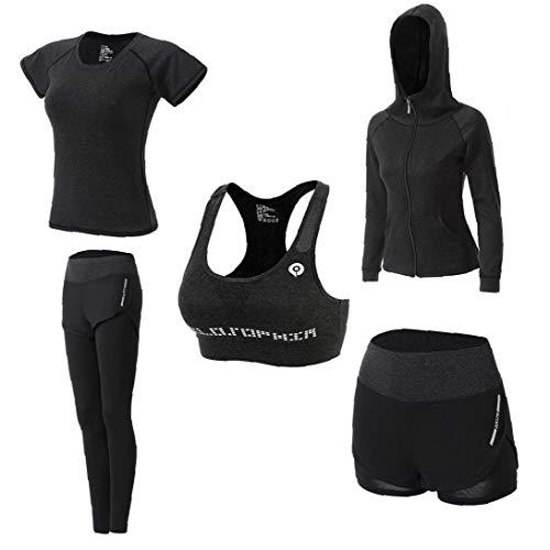linjunddd Mujeres Deportes Juegos De La Ropa De Yoga Establece Sportwear Chándales De Secado Rápido Traje para Running 5pcs XL Conveniente De Suministro