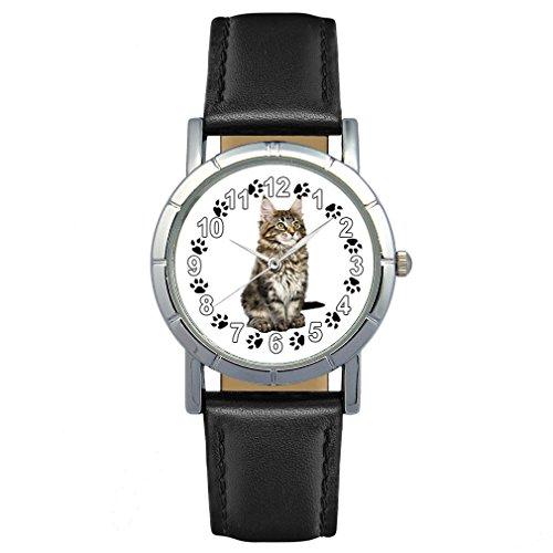 Timest - Maine Coon Katze - Damenuhr mit Lederarmband schwarz Rund Analog Quarz SA2549