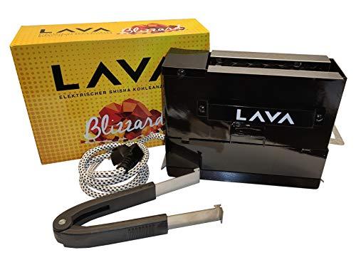 Lava Blizzard - Shisha Kohleanzünder elektrisch - Komplett aus Metall - Toaster Design mit 1000W - Hitzebständiges Sleeve Kabel - Kohlegrill mit Zange