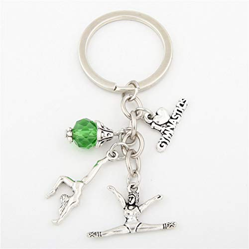 JJCDKL 1 stück Ich Liebe Gymnastik Schlüsselanhänger Herz Turner Anhänger Schlüsselbund Ring Schlüsselanhänger Geschenke Frauen