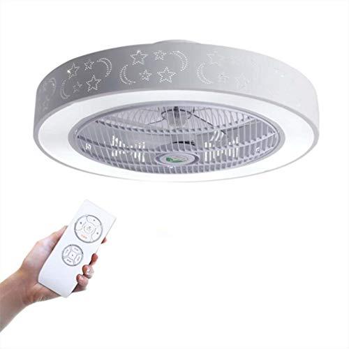 Luz de techo LED para música con altavoz Bluetooth, 20 '' Ventiladores de techo invisibles modernos con luces y equipo remoto, 36W regulable y lámpara de techo que cambia de color para la sala,A