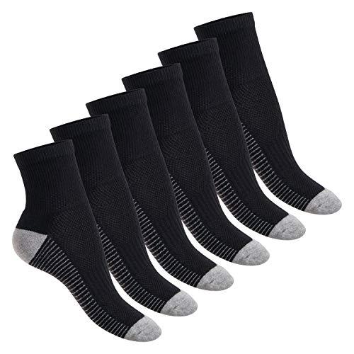 Footstar Damen und Herren Fitness Kurzschaft Socken (6 Paar) - Schwarz-Grau 39-42