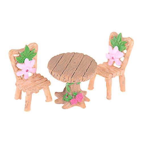 LQKYWNA 3pcs Floral Mini ResinTable Chairs, Miniature Garden DIY Accessories Micro Landscape Fairy Garden Dollhouse Decor