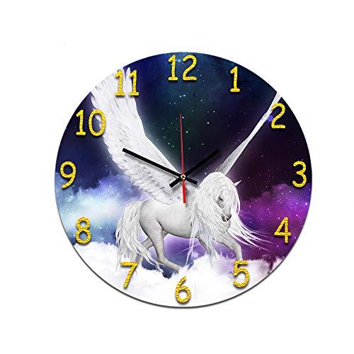 Reloj De Pared De Acrílico Redondo Creative Gracioso Patrón White Horse En...