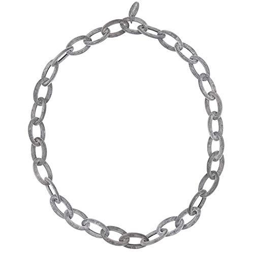 Feliss Collar para mujer – Collar de cuerno africano gris sin colgante 80 cm de largo con cuerno alargado – como joya regalo para novia, madre, regalo de cumpleaños, cadenas para ella