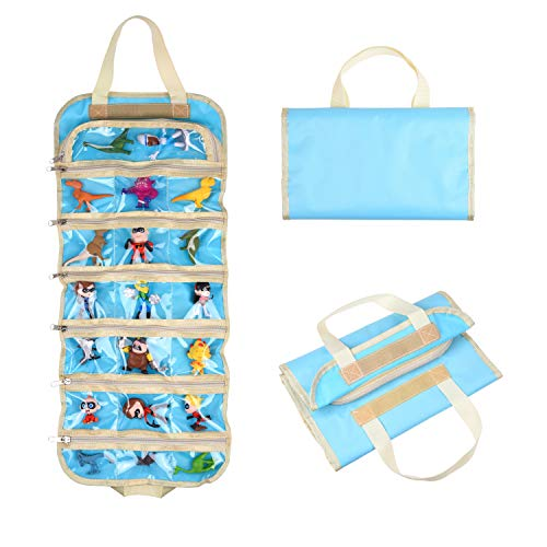 ECO-FUSED Fold Out Toy Organizer Storage Bag for Boys - Compatible with Small Toy Figures, Cars, Accessories and Collectibles