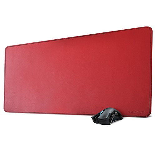 ZORESYN XL Large Mouse Pads (35'x16') - PU Leather Large Gaming Mousepad Desk Mat - Nonslip Base and Waterproof Desktop Keyboard Extended Mouse Mat (Red, X-Large)