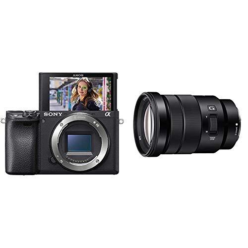 Sony Alpha 6400, Fotocamera Digitale Mirrorless ad Obiettivi Intercambiabili, Sensore APS-C, Video 4K HDR, S-log2, S-log3 e Hlg, ILCE6400B, Nero & E PZ 18 105mm f/4.0 G Obietto Zoom, APS C