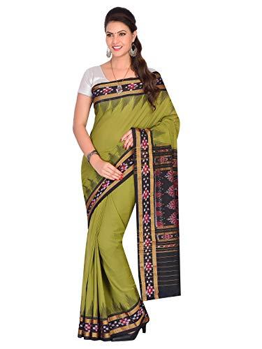 ODISHA HANDLOOM Women's Sambalpuri Cotton & Art Silk Saree With Un-stitched Blouse (OHAUG2019-72_Green)