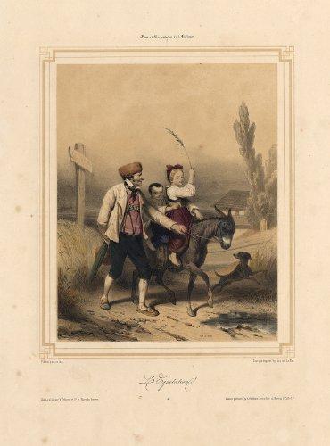 ThePrintsCollector Antique Print-L'EQUITATION-CHILDREN-GAME-COSTUME-RIDING-DONKEY-DOG-Valerio-1850