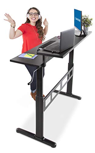 Stand Steady Tranzendesk 55' Dual Level Standing Desk | Go from Sitting to Standing with Easy Crank Handle | Sit to Stand Up Desk (Black Top/Black Frame)