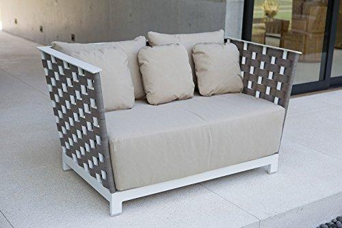 Canapé d'extérieur L 82 cm - H 80 cm - L142 cm avec coussins anti-taches, tressage effet bois réf. En aluminium blanc, résistant à l'usure et aux agents atmosphériques, finitions de qualité.