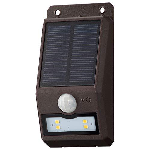 オーム電機 センサーウォールライト(110lm/ソーラー充電式/電球色LED/ブラウン) LS-S108FN4-T