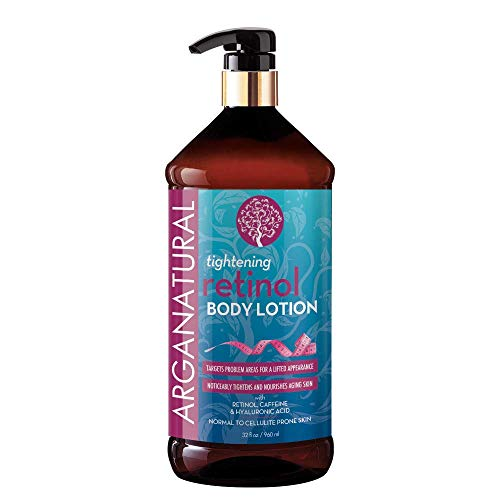 Arganatural Tightening Body Lotion with Retinol, Caffeine & Hyaluronic - Noticeably Tightens & Nourishes Aging Skin, Normal to Cellulite Prone Skin, for all Skin Types 32oz / 960ml - Amazon Exclusive