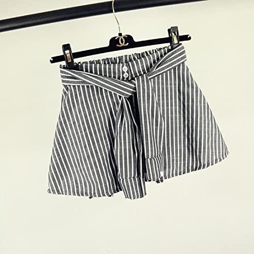 Pantaloncini da Donna in Denim Sexy da Spiaggia Pantaloncini A Righe in Cotone Moda Donna Sexy Finti Due Pezzi di Gonna A Righe Larghe Pantaloncini El