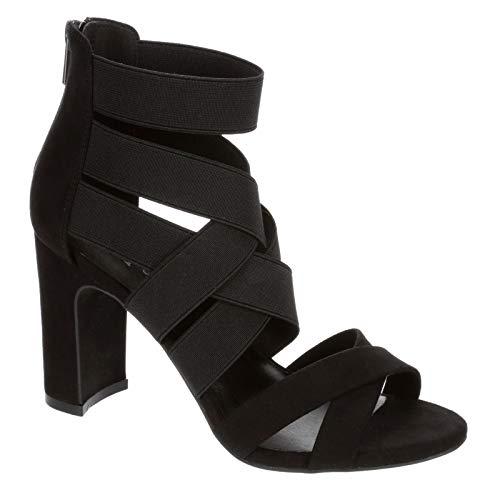 XAPPEAL Elle - Women's Open Toe Elastic Zip Up Block Heel Sandals Dress Pump Black, Size 8.0 Medium Width