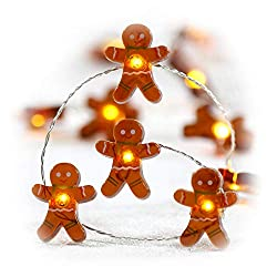 Image: Impress Life Christmas Festivel String Lights, Gingerbread Cookies Man 10 ft Copper Wire 40 LEDs with Dimmable Remote for House Bedroom Decorative, Wedding, Home, Covered Outdoor, Indoor DIY Parties