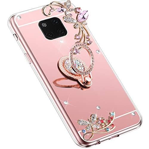 Uposao Kompatibel mit Huawei Mate 20 Pro Handyhülle Strass Diamant Bling Glitzer Spiegel Schutzhülle Mirror Case Schmetterling Blumen Silikon Hülle Tasche mit Ring Halter Ständer,Rose Gold