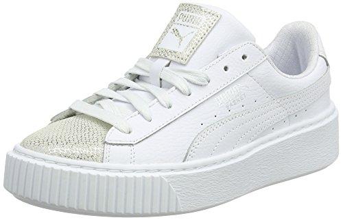 PUMA Basket Platform Glitz Jr, Zapatillas Unisex Niños, Blanco (White), 38 EU