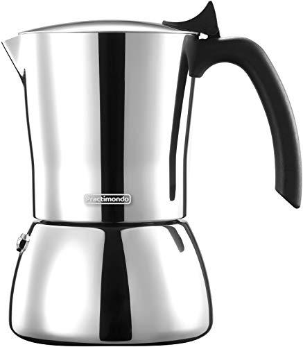 Practimondo Espressokocher Induktion geeignet | 4-6 Tassen Espresso-Mokka-Kanne aus Edelstahl | Kaffeekocher mit Ersatz Dichtung | 100% Aluminiumfrei