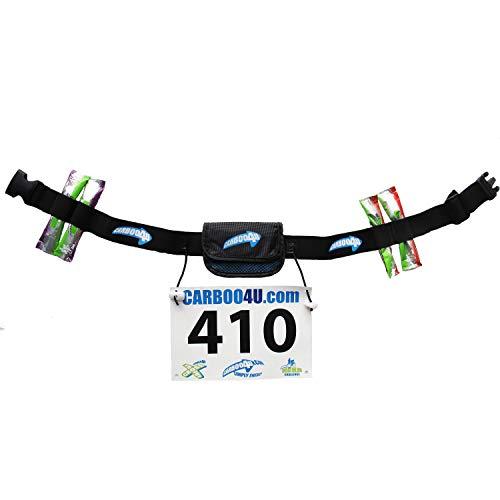 Carboo4U Unisex Multifunktionsgürtel in schwarz   Startnummernband Plus Tasche und Halter für 4 Energie-Gels oder -Riegel   Ideal für Lange Wettkämpfe