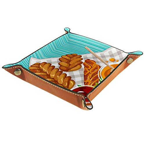 KAMEARI Bandeja de cuero Shabat velas taza Challah dulce miel clave teléfono moneda caja de cuero de vaca bandeja de monedas práctica caja de almacenamiento
