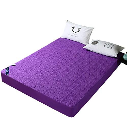 MHCYKJ Funda de colchón impermeable, antiarrugas, resistente a la decoloración, con bolsillo profundo, transpirable, fácil de limpiar, para adultos (color: morado, tamaño: 180 x 200 cm)