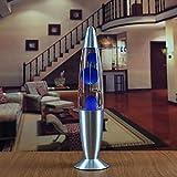 AN Metallboden Wachs Lampe, Lava-Lampen-Plug & Play-Optimiertes Design Mini Größe Und Leichtgewichtler Bedside Kreative Quallen Lampe,Blau