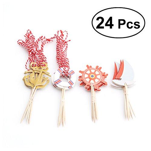 BESTOYARD Cupcake Toppers Pastel Náutico Selecciones de Alimentos Palillos de Dientes Frutas Decoraciones para la Boda de la Fiesta de Cumpleaños 24 unids