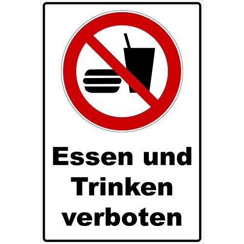 Schild Essen und Trinken verboten Schild Verbotszeichen Mehrfarbig 30 x 20 x 0,3 cm Hartschaumplatte