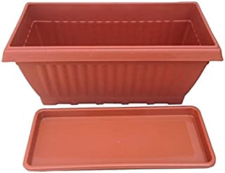 First Smart Plastic Rectangle Pot Set (18-inch, Brown)