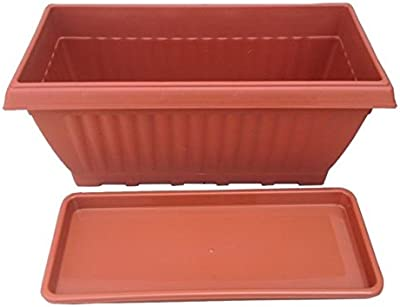 First Smart Plastic Rectangle Pot Set (18-inch, Brown, Pack of 3)