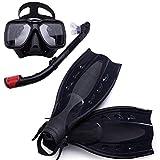MHSHKS Máscara De Buceo con Esnórquel Equipo De Snorkel Profesional Kits De Snorkel De Buceo Kits De Natación Subacuática con Aletas para Adultos O Niños Antivaho Antifugas