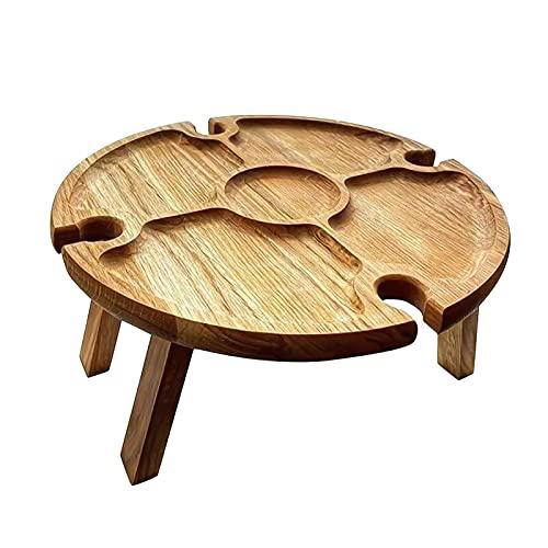 Lrxinki Picknicktisch aus Holz, zusammenklappbar, 2-in-1, tragbarer und faltbarer Camping-Esstisch mit Glashalter, Holz-Strandklappbarer Weintisch für Outdoor, Garten, Reisen, Camping (L)