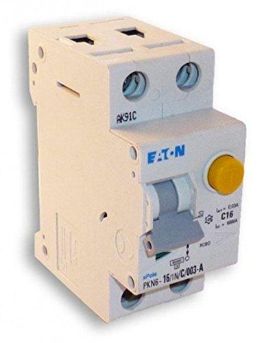 Interruttore magnetotermico differenziale 1P+N, In=16A, curva C, Icn=4,5kA, Idn=0,03A, classe AC, tipo Eaton PKN4-16/1N/C/003 cod. 237068