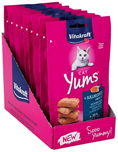 Vitakraft Katzensnack Cat Yums plus Lachs - 9 x 40g