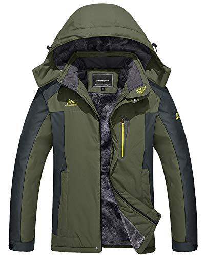 TACVASEN Mountain Jackets for Men Outdoor Waterproof Windproof Rain Jackets Coats, Green, L