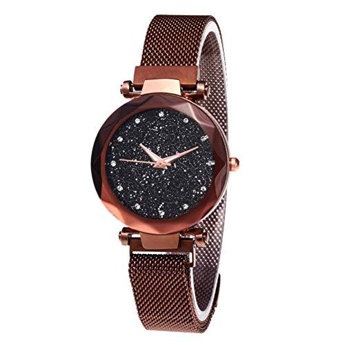 BATHRINS Damen-Armbanduhr, Sternenhimmel, modische Elegante Damen-Quarz-Armbanduhr mit dünnem magnetischem Armband, aus Stahl und Armband, Damen, Schwarz + Armband