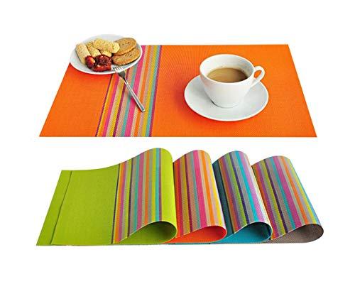 Tian Fan Ni Mats - Juego de 4 manteles individuales de PVC resistentes al calor, lavables, pvc poliéster, Naranja, 30 x 45 cm