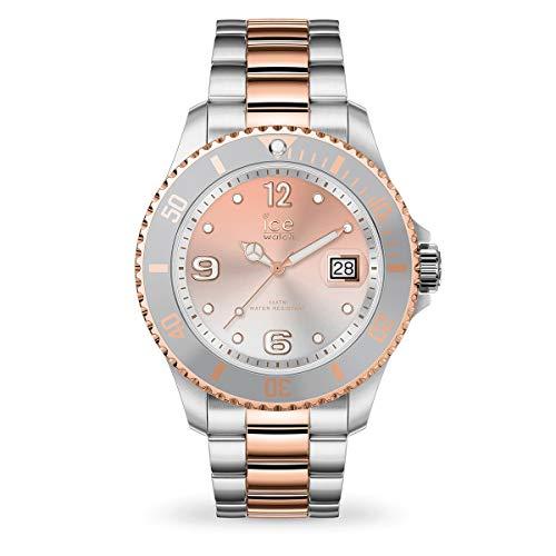 ICE-WATCH - ICE steel Silver sunset rose-gold - Silbergraue Damenuhr mit Metallarmband - 016769 (Medium)