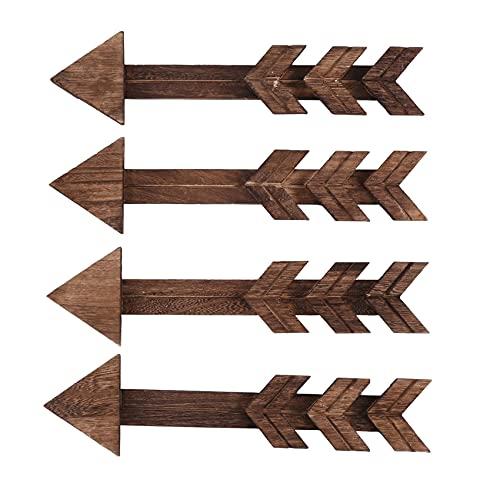 Plroinp 4 Paquetes DecoracióN de la Pared de Flechas de Madera RúStica Flechas de Madera Arte de la Pared Letrero Decorativo de la Granja