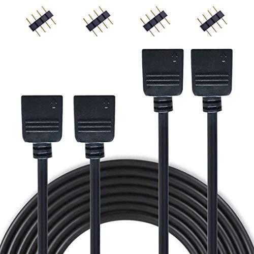 Liwinting 2 Piezas 4 Pin 2m el Cable de Extensión del RGB Conecta el Enchufe Femenino a la luz de Tira de SMD 5050 3528 2835 RGB LED,con el Conectador Libre de 4 Piezas 4 Pin - Negro