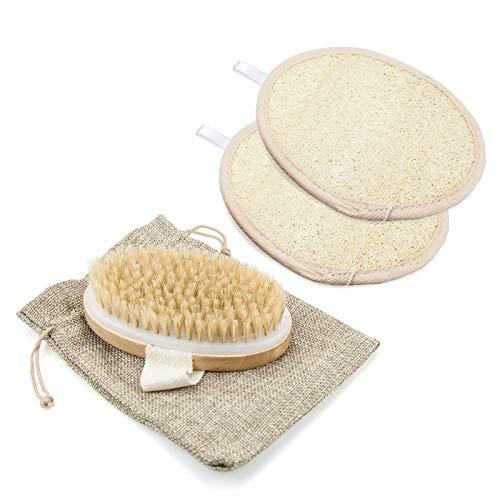 Cepillo seco para el cuerpo, cerdas de canvalite ducha celulitis cepillo exfoliante y 2 almohadillas de esponja de lufa para baño