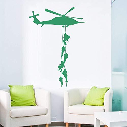 WALSITK Decoración de Vinilo Militar Vinilo para helicóptero Wallpaper para niños Ejército Habitación Arte Decoración extraíble Wallpaper 77x55cm