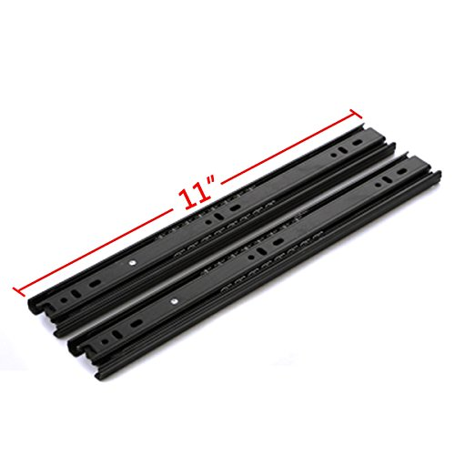 GLE2016 A Pair of Black Metal Quiet Ball Bearing Full Extension 3 Section Drawer Slide, Side Mount (27.5cm/11 Inch)