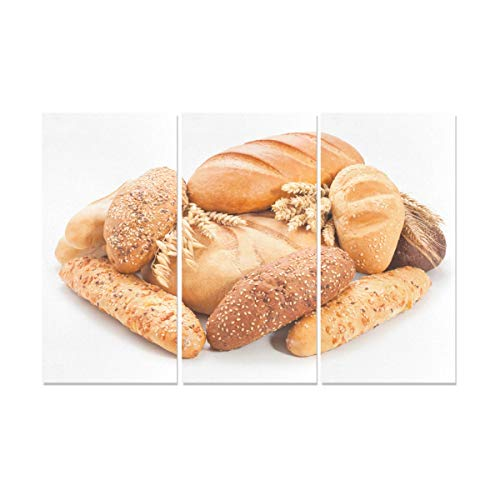 XINLU 3 Panel Canvas Art Print Delicious Whole Wheat Bread Home Wall Paint Printed Canvas Panels Kitchen Wall Art for Home Living Room Bedroom Bathroom Wall Decor Posters