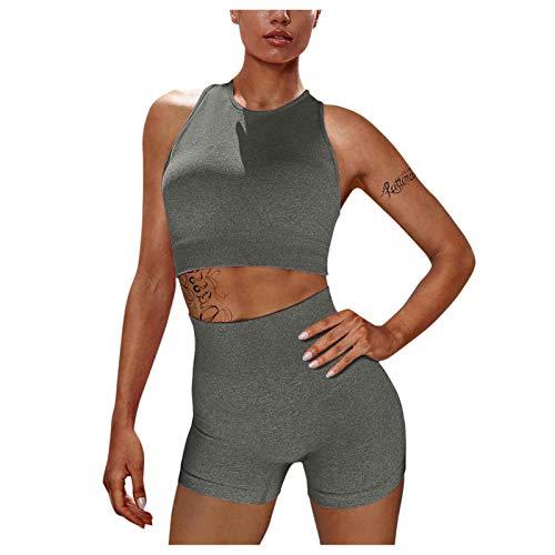 NAQUSHA Conjuntos de entrenamiento sin costuras acanaladas control de la barriga del tanque suave de cintura alta levantamiento de glúteos Scrunch Stretch Shorts Gym Yoga Trajes