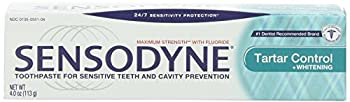 Sensodyne Toothpaste for Sensitive Teeth and Cavity Prevention Maximum Strength Tartar Control Plus Whitening 4-Ounce Tubes  Pack of 4