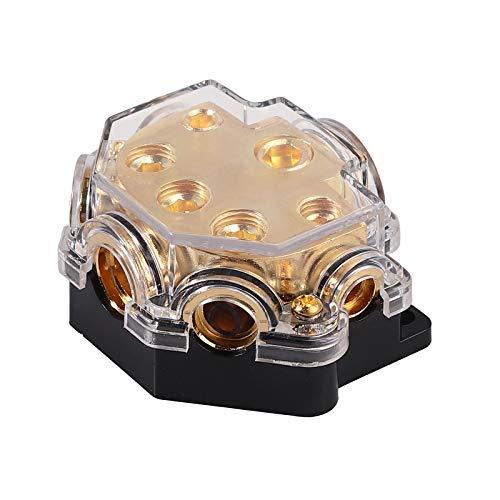 5 Way Power Distribution Block Car Auto Audio Amplifier, 0/2/4 Gauge in 2/4/8 Gauge Out Power Ground Distributor Blocks,1 in 5 Way Car Power Distributor Block